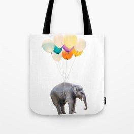 Dreaming Elephant Flying, Animal Zoo Nursery Photo, Large Printable Birthday Party Wall Art Tote Bag