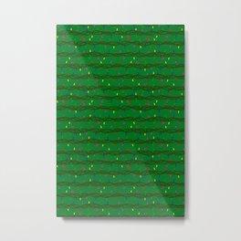 Christmas lights on green Metal Print