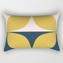 Atomic Age Neutra Half Pattern - Midcentury Modern Minimalism in Mustard, Pale Blush, and Blue Rectangular Pillow