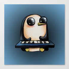 Penguin With Keyboard Canvas Print