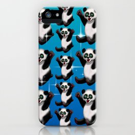 Pick me up panda blue with stars iPhone Case