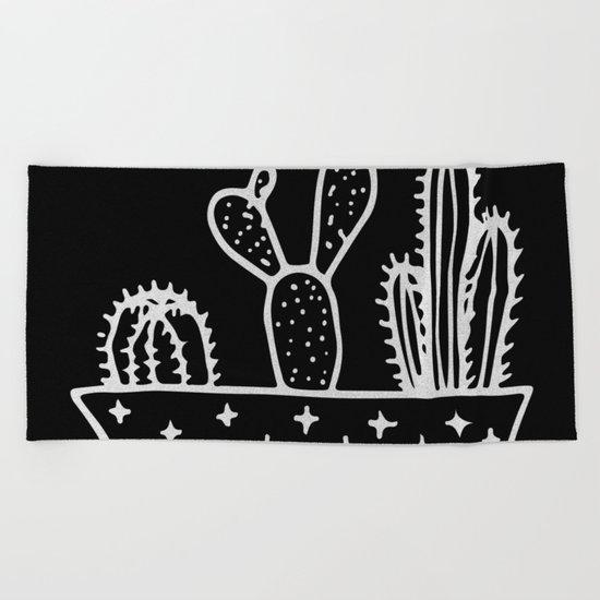 Cactus Planter Gray on Black Beach Towel