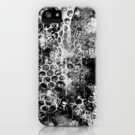 bees fill honeycombs in hive splatter watercolor black white iPhone Case
