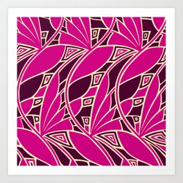 Modern art nouveau tessellations cerise and amber Art Print
