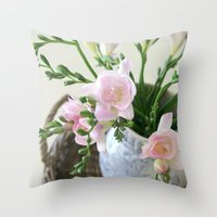 Pink Freesia Throw Pillow