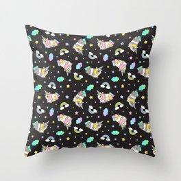 Silkie Guinea Pigs Kawaii Unicorn Pattern in Black Throw Pillow
