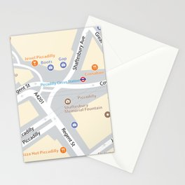 Piccadilly Circus Map Stationery Cards