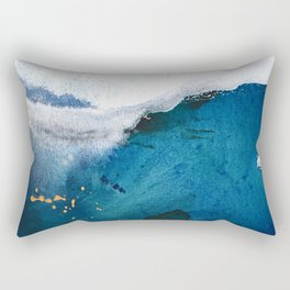 In the Surf: a vibrant minimal abstract painting in blues and gold Rectangular Pillow