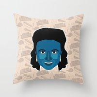 seinfeld Throw Pillows featuring Elaine Benes - Seinfeld by Kuki