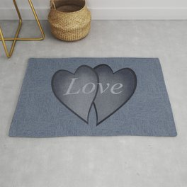 Hearts with background - denim photocollage Rug
