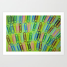 Colorful paperclips pattern Art Print