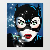 catwoman Canvas Prints featuring Catwoman by mark ashkenazi