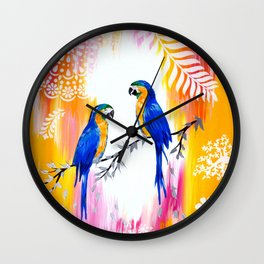 Macaws and Happiness Wall Clock