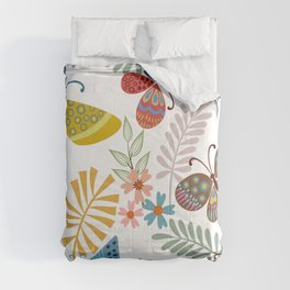 Cute, Colorful, Butterfly and Floral Garden Comforters