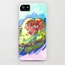 Expressive Parrots Lovebirds iPhone Case