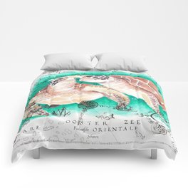 Sea Turtles Vintage Map Comforters