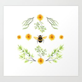 Bees in the Garden v.3 - Watercolor Graphic Art Print