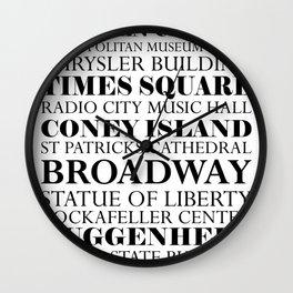 New York City - White Wall Clock