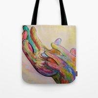 jesus Tote Bags featuring JESUS by EloiseArt