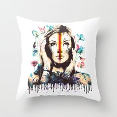 Drips of color Throw Pillow