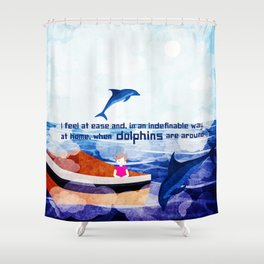 When dolphins are around 2 Shower Curtain