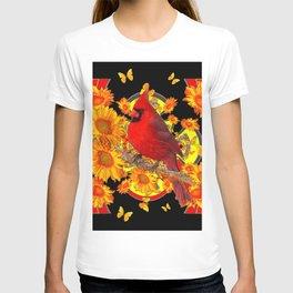 BUTTERFLIES  RED CARDINAL SUNFLOWERS BLACK ART T-shirt