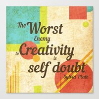 sylvia plath Canvas Prints featuring Inspirational Quote Sylvia Plath by Divya Tak