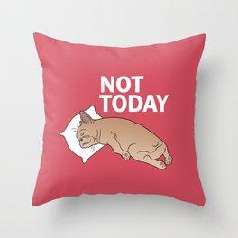 Lazy Frenchie Throw Pillow