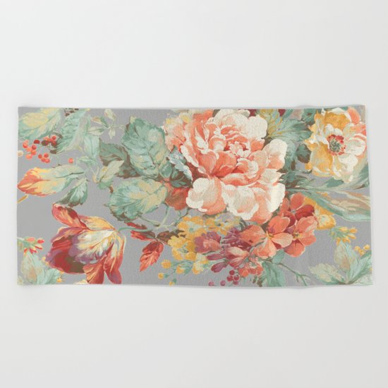 fall garden Beach Towel