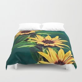 Watercolor sunflowers Duvet Cover