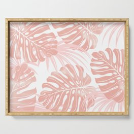 Blush Tropical Leaves Serving Tray