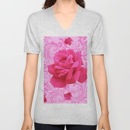 BEAUTIFUL  PINK ROSE SCROLLS GARDEN ART Unisex V-Neck