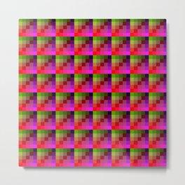 Vivid Pink and Lime Pixel Art Tile Pattern Metal Print