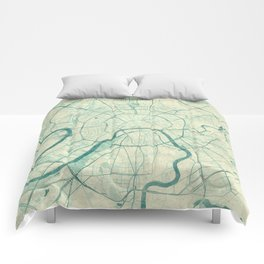 Moscow Map Blue Vintage Comforters