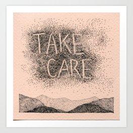 Sky Writing: Take Care Art Print