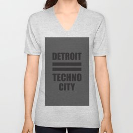 Detroit Techno city, electronic music djs gift Unisex V-Neck