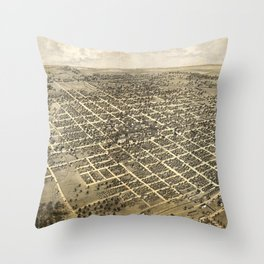 Vintage Pictorial Map of Bloomington IL (1867) Throw Pillow