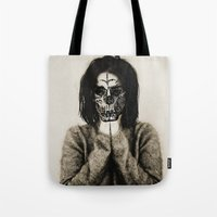 bjork Tote Bags featuring Bjork skull by Sincere