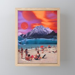 Red moon at the beach Framed Mini Art Print