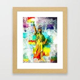 Statue of Liberty Grunge Framed Art Print