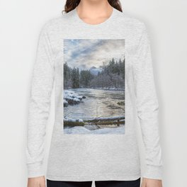 Morning on the McKenzie River Between Snowfalls Long Sleeve T-shirt