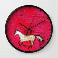 horse Wall Clocks featuring Horse by Brontosaurus