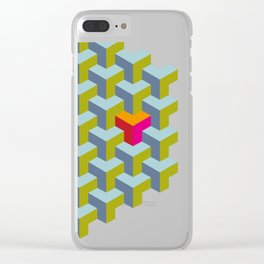 Be yourself - geomtric op art pattern Clear iPhone Case