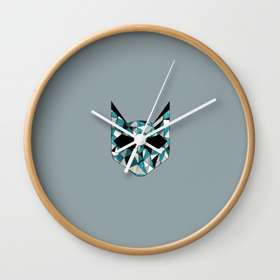 Turquoise Cat Wall Clock