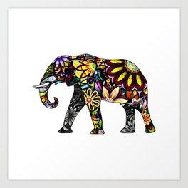 Aztec Elephant White Art Print