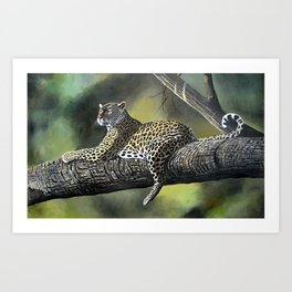 Painting of a Leopard on Branch  Art Print