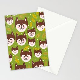 seamless pattern funny brown husky dog and leaves, Kawaii face with large eyes and pink cheeks Stationery Cards