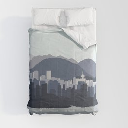 Vancouver Skyline in Blues Comforters
