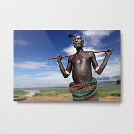 Karo chief, Ethiopia Metal Print