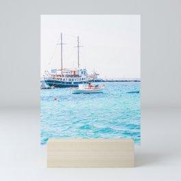 510. 2 masts boat in Harbor, Mykonos, Greece Mini Art Print